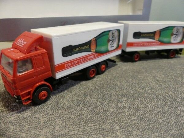 1 87 Herpa Scania 142 Faber Champagne Valise Hängerzug