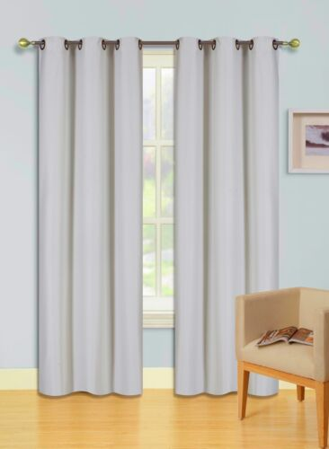 2PC Lined Heavy Thick Blackout Grommet Window Curtain Panels KK92 Ivory Stone