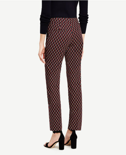 Ann Taylor Size 10 Dark Burgundy Ankle Pant In Diamonds 84 Devin Fit $98.00