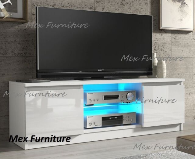 new arrival 932a3 71fe4 120cm Modern White TV Stand Unit Cabinet High Gloss 16 Colors LED RGB Light