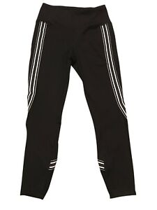 Women-s-Active-Life-Small-Black-Striped-Leggings-Mesh-Accents