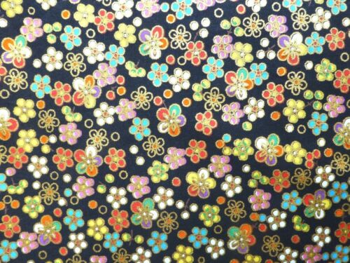 Oriental DAISY Fabric Fat Quarter Cotton Craft Quilting FLOWERS Black