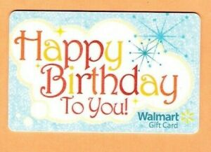 Image Is Loading Collectible Walmart Gift Card Happy Birthday Sparkle No
