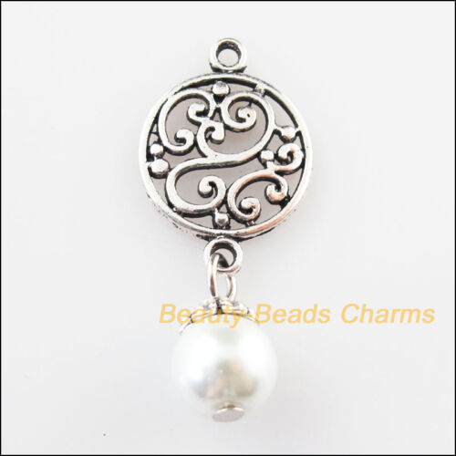 12 Tibetan Silver Tone Round Flower White Glass Beads Charms Pendants 14x32mm