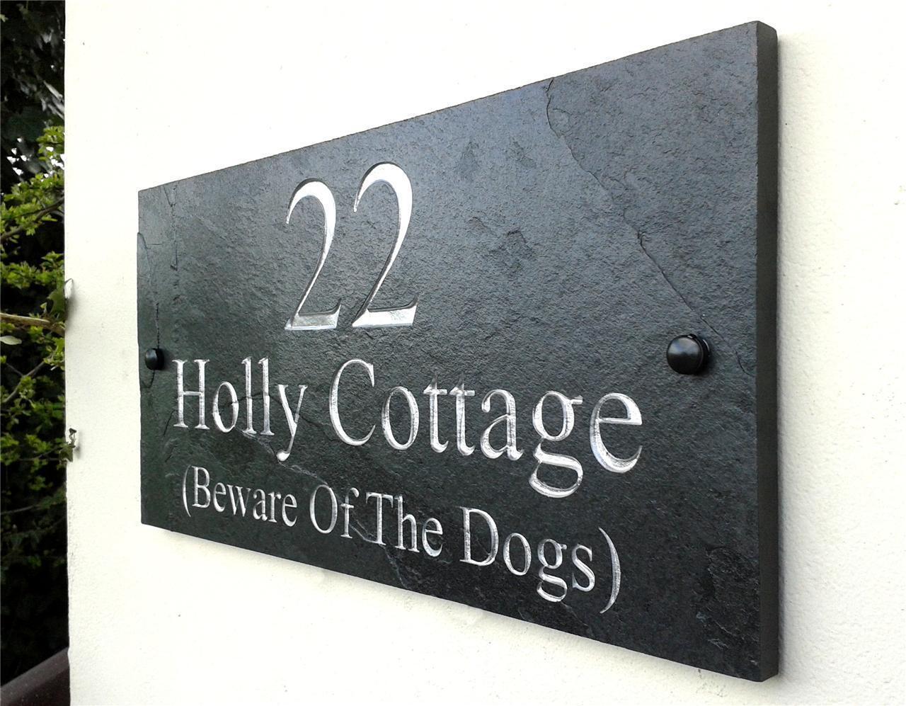 Engraved Natural Slate House Door Sign Name Number Plaque 40cm x 20cm
