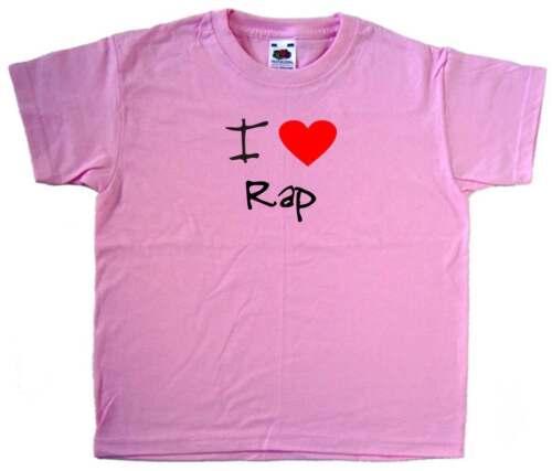 I Love Heart Rap Pink Kids T-Shirt