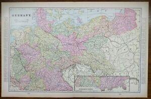 Vintage-1900-GERMANY-Atlas-Map-22-034-x14-034-Old-Antique-BERLIN-BADEN-FRANCONIA