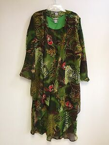 Women-039-s-Plus-size-Printed-Two-Piece-Duster-Jacket-Dress-Sets-sizes-1X-2X-3X-NWT