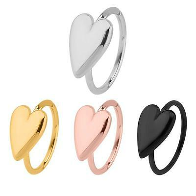 316l Surgical Steel Seamless Nose Ring Continuous Heart Hoop 5 16