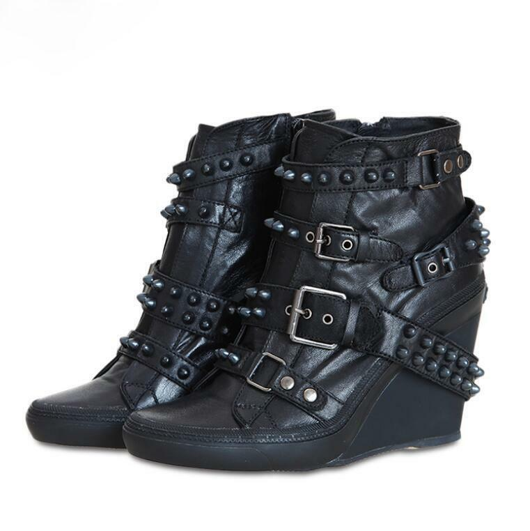 Punk Donna Ankle short Boots Leather Wedge Ske15 Heel Shoes Buckles Rivets Ske15 Wedge 7e8135