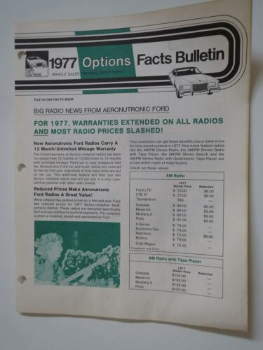 1977 FORD AM AM//FM AND 8 TRACK RADIO STEREO SYSTEMS DEALER INFO FACTS BULLETIN