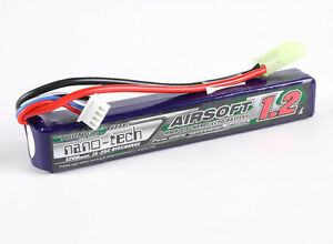 New Turnigy nano-tech 1200mah 3S 15C 25C 11.1V Lipo Battery Airsoft Pack US | eBay