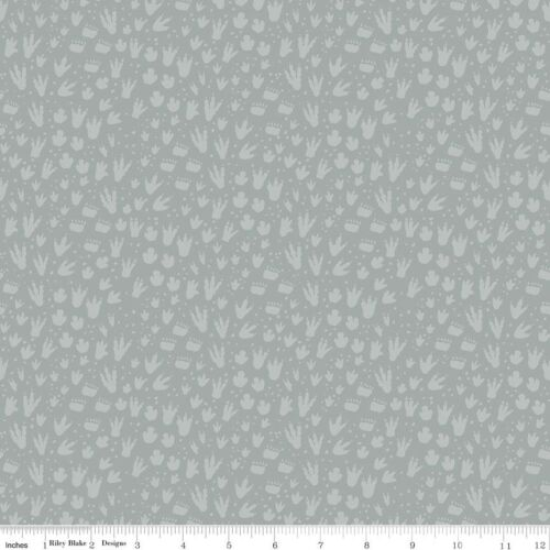 Riley Blake huellas de dinosaurios Fossil Gris Tela FQ o metros 100/% algodón