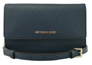 Michael-Kors-Cross-Body-Clutch-Shoulder-Bag-Navy-Dark-Blue-Leather-Small-Handbag