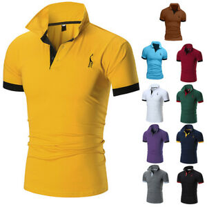 Mens-Slim-Fit-Shirts-Solid-Short-Sleeve-Casual-Golf-T-shirt-Tee-Tops-Jersey
