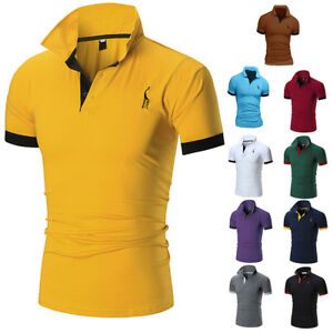 Classic-Mens-Slim-Fit-Shirts-Short-Sleeve-Casual-Golf-T-shirt-Tee-Tops-Jersey
