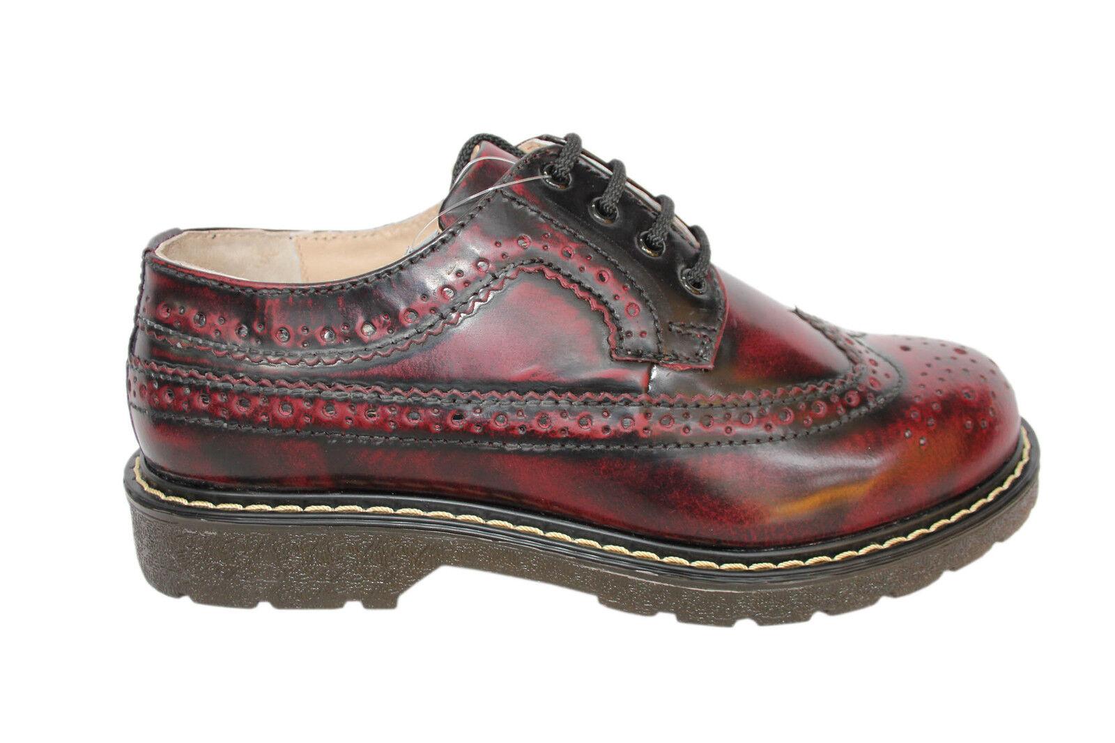 Amoladoras bertrum Borgoña Para mujer Para Mujer Americana Zapato Bajo De Cuero Con Encaje Zapatos De Cuero
