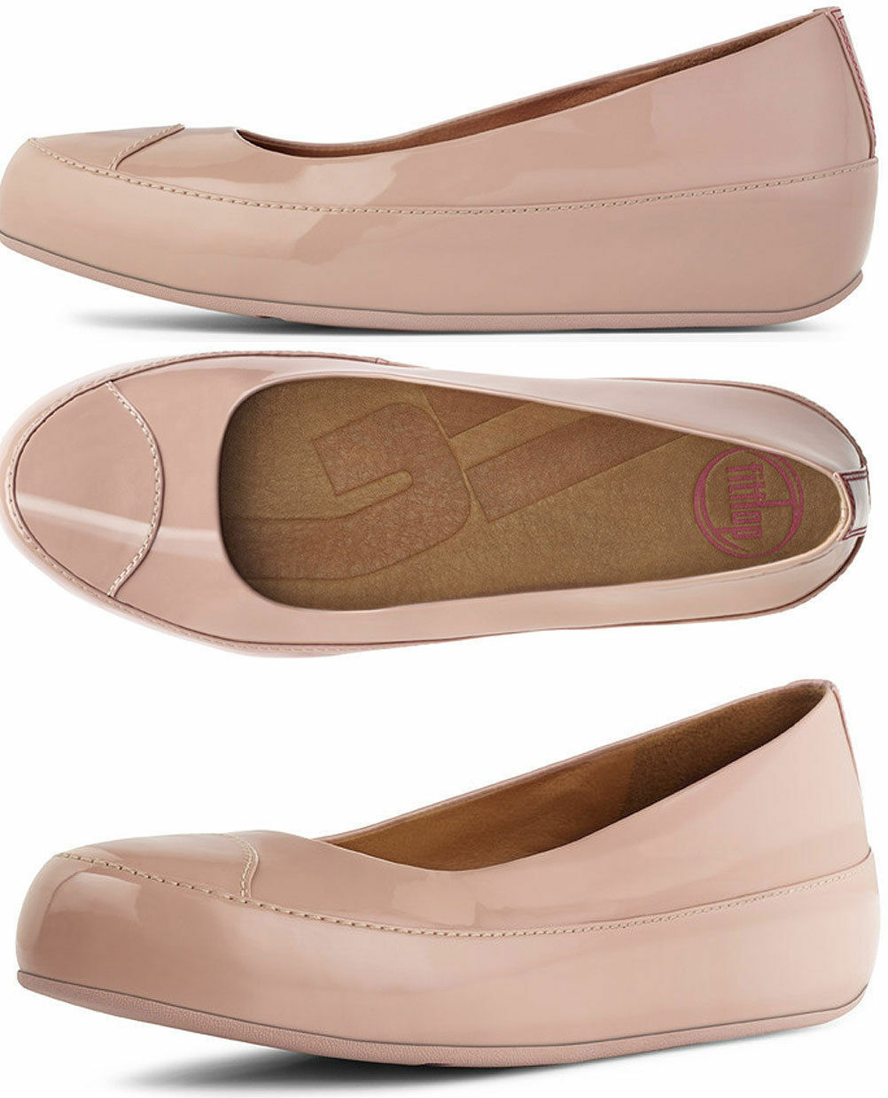 FITFLOP DUE NUDE PATENT LEATHER PLATFORM BALLERINA PUMPS Schuhe UK 6.5 /40