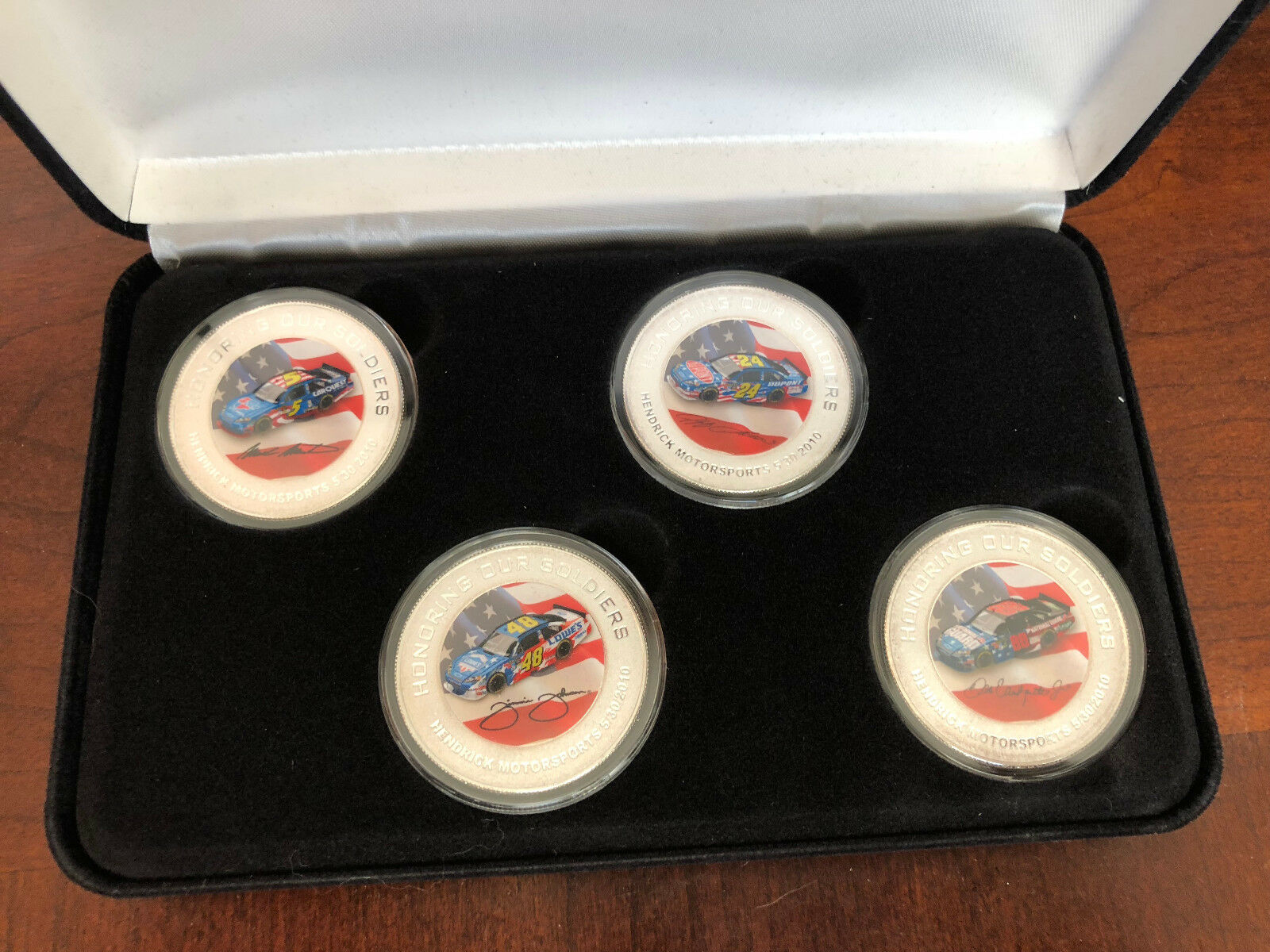 Jimmie Johnson Jeff Gordon Dale Jr HMS Honoring Soldiers SAMPLE plata coin set
