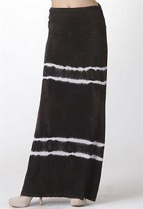 BNWT-URBAN-X-Size-8-Womens-Black-White-Acid-Wash-Tie-Dye-Maxi-Casual-Skirt