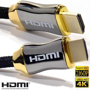Premium 4K HDMI Cable 2.0 High Speed 1M 2M Gold 2160p Ultra HD TV PS4 Sky Q Xbox