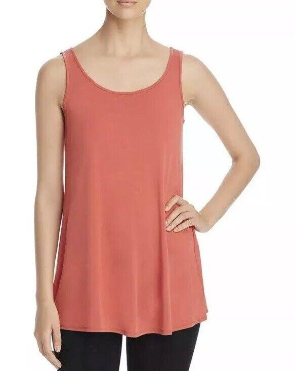 Eileen Fisher damen's Sz Small Orange Scoop Neck Sleeveless Stretch Silk Top