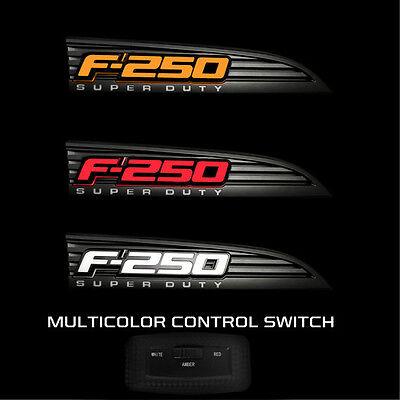 Red 2011-2016 Ford F250 LED Illuminated Side Fender Emblems in Black Case