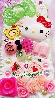 Hello Kitty decoden cabochon green bow whipped cream case for ALL Samsung models