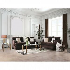 Details about Beautiful Padded Chenille Chocolate Color 2pc Sofa Set Sofa  Loveseat Flared Arms