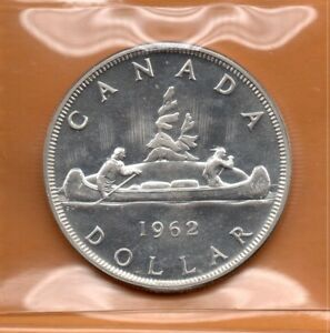ICCS-PL66-PL-66-1962-Canada-1-Dollar-Beautiful-White-CAMEO-Proof-Like-Silver
