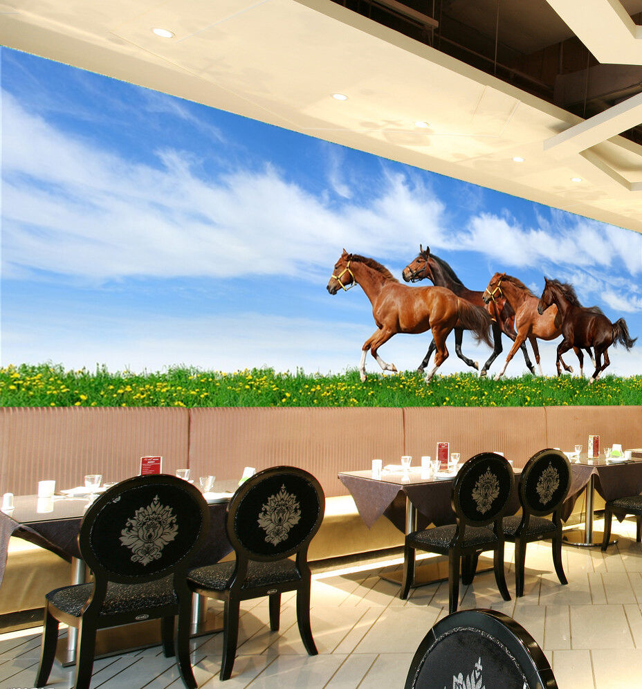 3D Flower Field Horses 6 Wall Paper wall Print Decal Wall Deco Indoor wall Mural