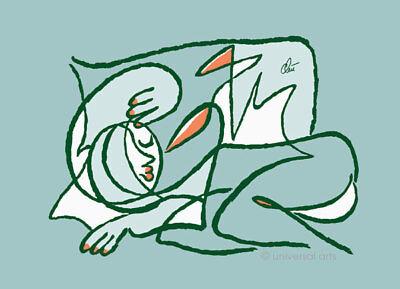 JACQUELINE DITT - Oder schläft sie...? M. ltd.sign.Grafik im Rahmen 13x18 cm Akt