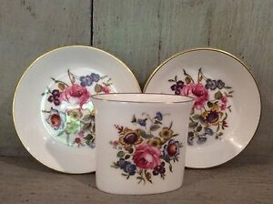 Royal-Worcester-Set-Of-Two-Trinket-Dishes-And-Small-Vase-Bone-China-England