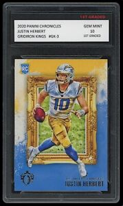 JUSTIN HERBERT 2020 PANINI CHRONICLES #GK-3 1ST GRADED 10 ROOKIE CARD CHARGERS