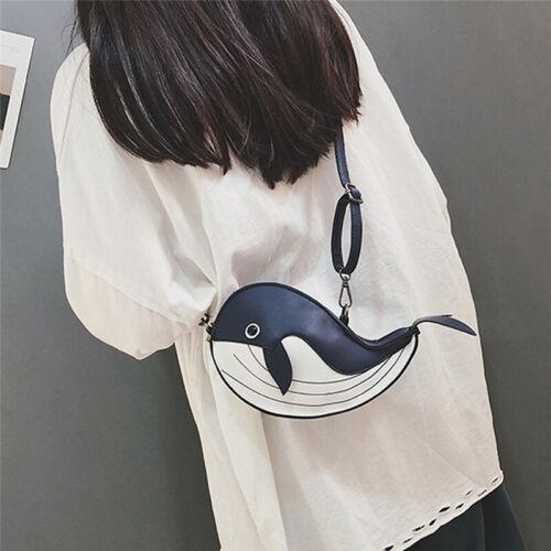 Small Cute Whale Shape Crossbody Shoulder Bag for Ladies Girls Phone Bag Purse W