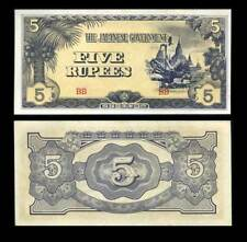 Burma P15b temples 5 Rupee Japanese Invasion Money JIM note 1942 $15 CatVal