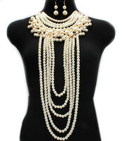 Necklace Long Chain & Earring Set Pearl Body Women Jewelry Harness 0103 Usa