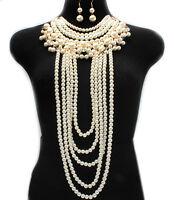 Necklace Long Chain & Earring Set Pearl Body Women Jewelry Harness 0103 Usa