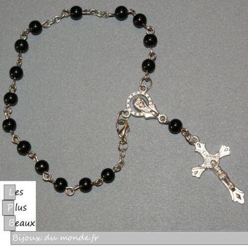 Bracelet CHAPELET CRISTIANO ROSARY NOIR perle 5mm NEUF au CHOIX