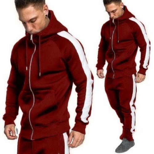 Mens Tracksuit Set Winter Sport Jogger Sweatshirt Track Pants Hoodie Coat Jacket