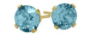 1.10Ct. Genuine 5mm Round Blue Topaz 14K YG Stud Earrings
