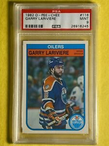 1982 O-Pee-Chee OPC Garry Lariviere #116 OILERS NHL Card PSA 9 Mint