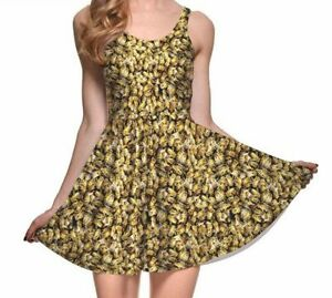 Bees-Beehive-Bee-Honey-Beekeeper-Save-the-Bees-Nature-Bug-Insect-Skater-Dress