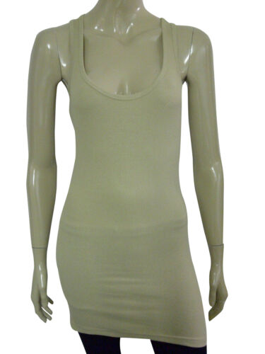 Womens B.C Long Vest Tank Top Ribbed Lycra STRETCH Khaki Size 6 to 20 Ladies