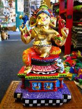 GANESH GANESHA HAND PAINTED STATUE Ornament HINDU GOD Indian DEITY DEVA 35cm