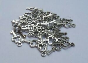 25-pcs-Charms-a-forma-di-Piccola-chiave-16x6-mm-Argento