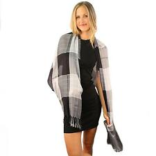 menus soft cotton light warm college plaid long fringe oblong scarf wrap black