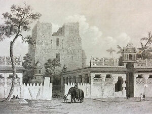 India-Sri-Lanka-Ceylon-Temple-Ramifseram-Engraving-XIX-Th-India-Bharat