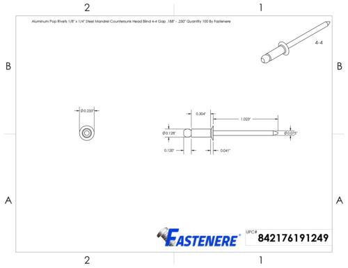 """Aluminum Pop Rivets 1//8/"""" x 1//4/"""" Steel Mandrel Flat Countersunk Head Qty 2500"""