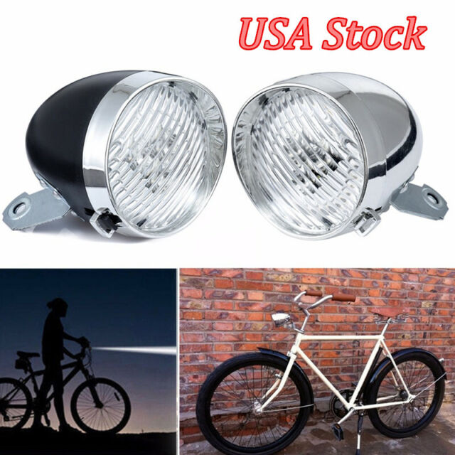 Retro Bike Headlight Flashlight Vintage Bicycle 3 LED Front Light with Bracket